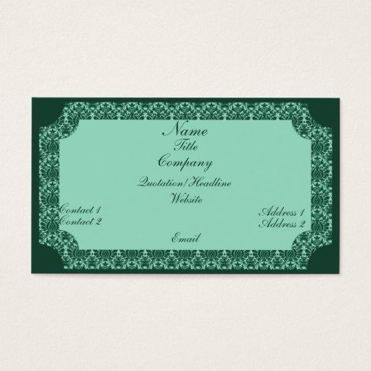 Vintage Damask Business Card, Mint Green Business Card