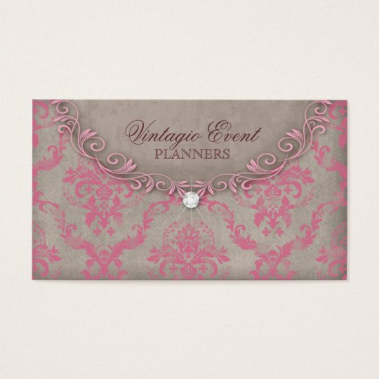Vintage Damask Business Card Pink Beige Antique