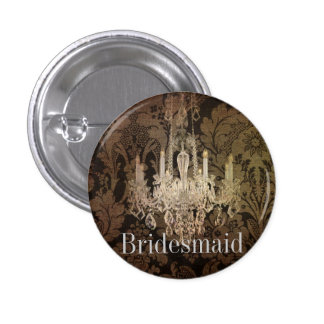 vintage damask chandelier wedding 3 cm round badge