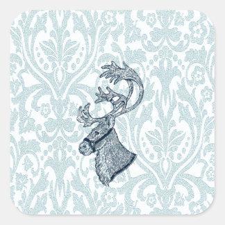 Vintage damask christmas reindeer square sticker