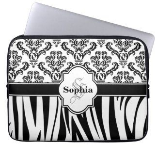 Vintage Damask Cool Zebra Stripes Laptop Sleeve