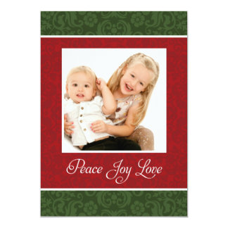 Vintage Damask Double Sided Holiday Photo Card 13 Cm X 18 Cm Invitation Card