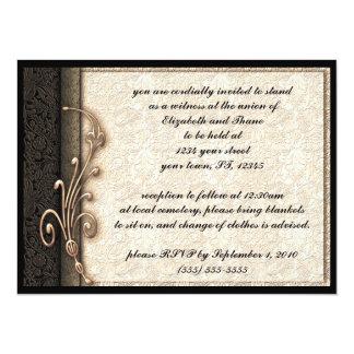 Vintage Damask Elegant Goth Wedding Invitation