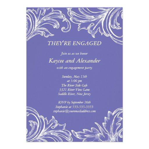 Vintage Damask Engagement Invitations Violet