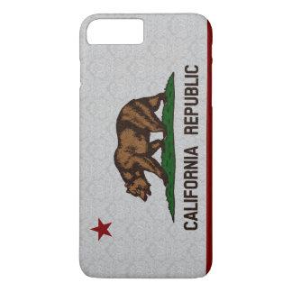Vintage Damask Flag of California Republic Pattern iPhone 7 Plus Case