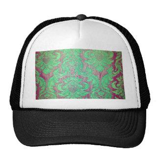 Vintage damask green red nouveau style textile fun trucker hat
