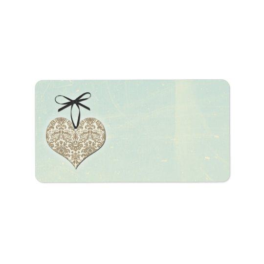 Vintage Damask Heart Mint Wedding Blank Address Label