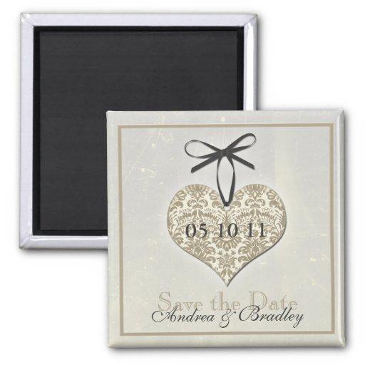 Vintage Damask Heart Monogram Wedding Magnet Fridge Magnet