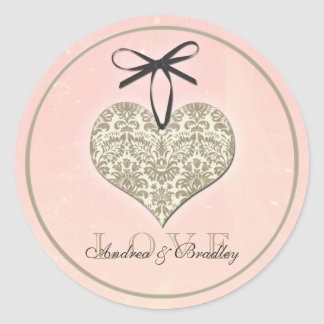 Vintage Damask Heart Pink Gold Wedding Classic Round Sticker