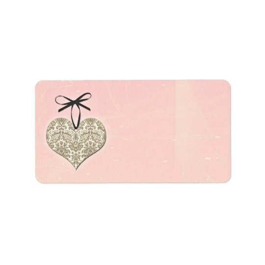 Vintage Damask Heart Pink Wedding Blank Address Address Label