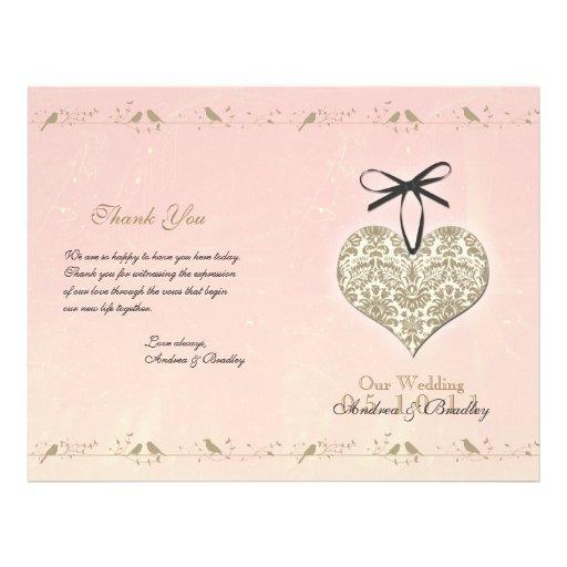 Vintage Damask Heart Wedding Program Custom Flyer