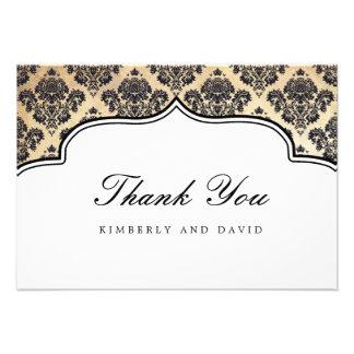 Vintage Damask Label Thank You Card