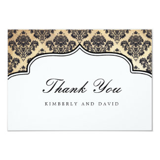 Vintage Damask Label Thank You Card Personalized Announcements