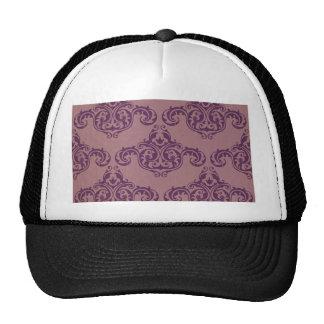 Vintage damask maroon amethyst floral elegant chic cap