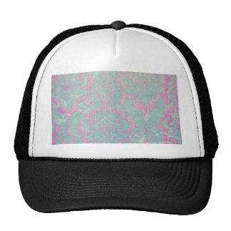 vintage damask nouveau teal pink chic tapestry trucker hat