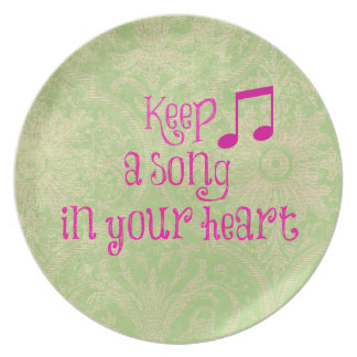 Vintage Damask Paper with Song in your Heart Quote Party Plate