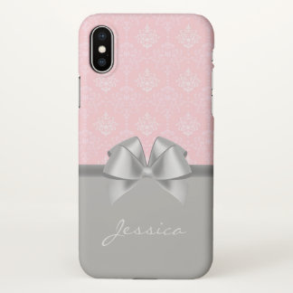 Vintage Damask Pattern Pink Gray Monogram Name iPhone X Case