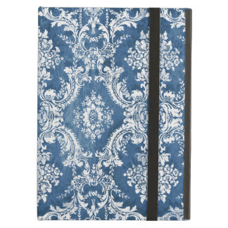 Vintage Damask Pattern - Sapphire Blue White iPad Air Case