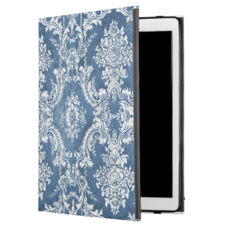 "Vintage Damask Pattern - Sapphire Blue White iPad Pro 12.9"" Case"