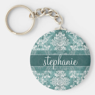 Vintage Damask Pattern with Grungy Finish Basic Round Button Key Ring