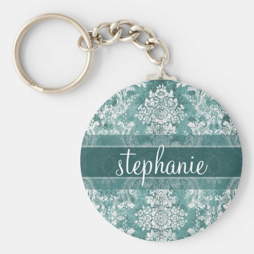 Vintage Damask Pattern with Grungy Finish Key Chain