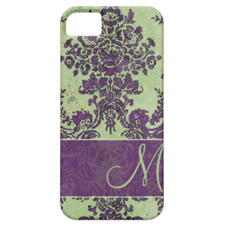 Vintage Damask Pattern with Monogram Barely There iPhone 5 Case