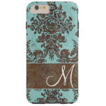 Vintage Damask Pattern with Monogram Tough iPhone 6 Plus Case