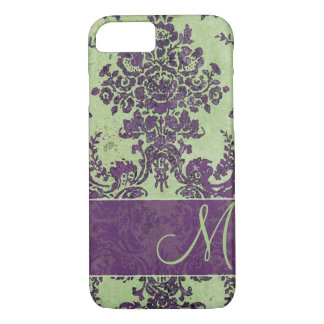 Vintage Damask Pattern with Monogram iPhone 7 Case