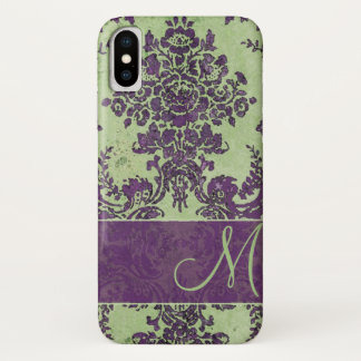 Vintage Damask Pattern with Monogram iPhone X Case