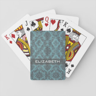Vintage Damask Pattern with Monogram Playing Cards