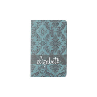 Vintage Damask Pattern with Monogram Pocket Moleskine Notebook
