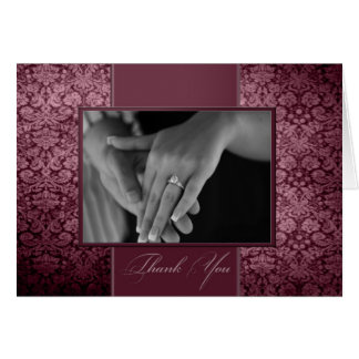 Vintage Damask Photo Thank You Card