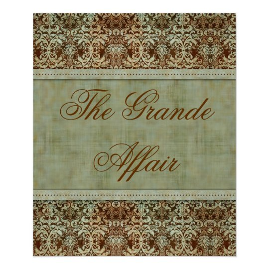 Vintage Damask Poster Brown Green