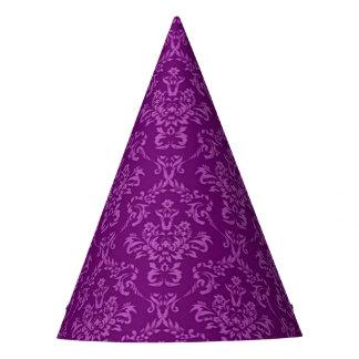 vintage Damask, purple Party Hat
