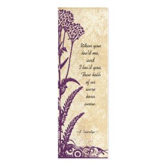 Vintage Damask Purple Wild Flower Wedding Tags Business Card Templates
