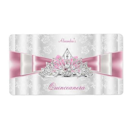 Vintage Damask Quinceanera 15th Birthday Party Shipping Label