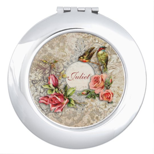 Vintage Damask Rose Personalised Compact Mirror