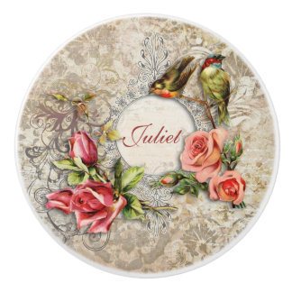 Vintage Damask Roses and Birds Personalized Ceramic Knob