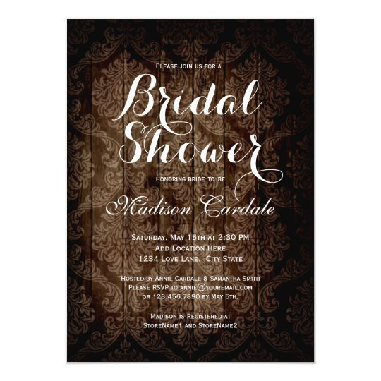 Vintage Damask Rustic Bridal Shower Invitations