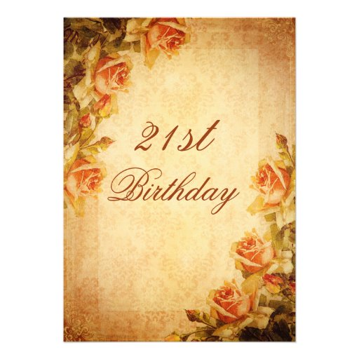 Vintage Damask Shabby Chic Peach Roses 21st Card
