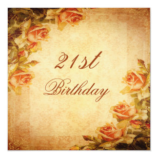 Vintage Damask Shabby Chic Peach Roses 21st 5.25x5.25 Square Paper Invitation Card