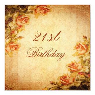 Vintage Damask Shabby Chic Peach Roses 21st Custom Invites