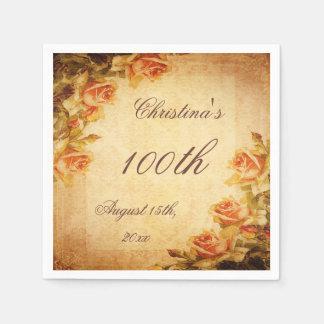 Vintage Damask Shabby Chic Peach Roses Serviettes Paper Napkin