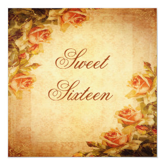 Vintage Damask Shabby Chic Peach Roses Sweet 16 Personalized Invite