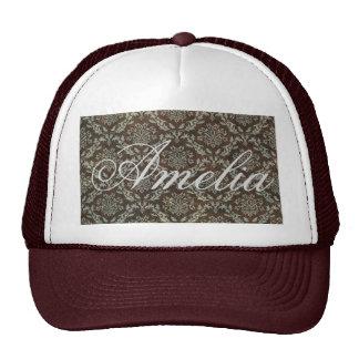 Vintage,damask,victorian,greybrown, black,gothic trucker hat