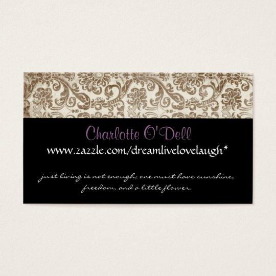vintage damask; website marketing business card