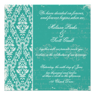Vintage damask wedding invitation