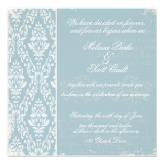 Vintage damask wedding invitation Blue