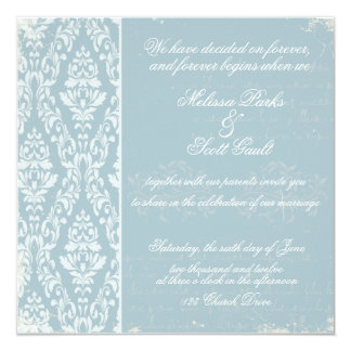 Vintage damask wedding invitation Blue