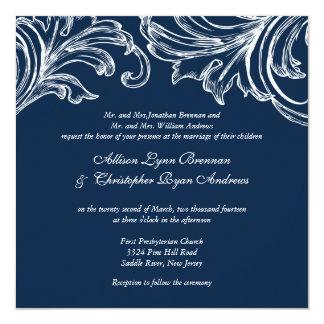 "Vintage Damask Wedding Invitation Navy Blue  White 5.25"" Square Invitation Card"